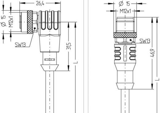 Sensor-/Aktor-Steckverbinder, konfektioniert M12 Stecker, gerade, Buchse, gewinkelt 2 m Polzahl (RJ): 4 Escha 8044050 AL