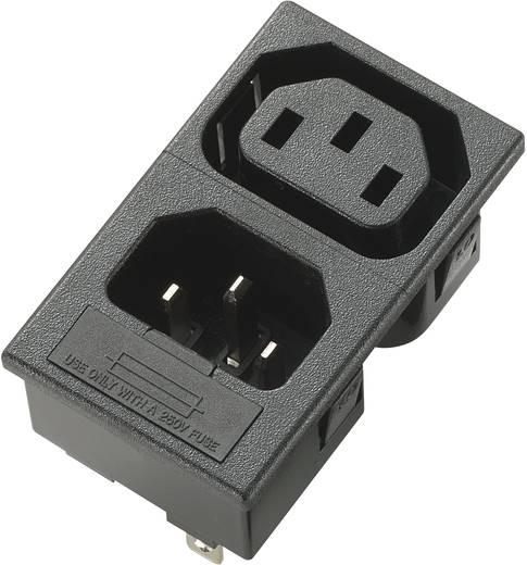 Kaltgeräte-Steckverbinder C13 Buchse, Einbau vertikal, Stecker, Einbau vertikal Gesamtpolzahl: 2 + PE 10 A Schwarz 1