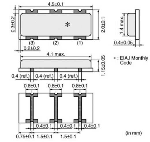 Keramik-Resonator Murata CSTCR6M00G53-R0 CERALOCK® 15 pF Abmessungen (L x B x H) 1.15 x 4.5 x 2.0 mm SMD-3