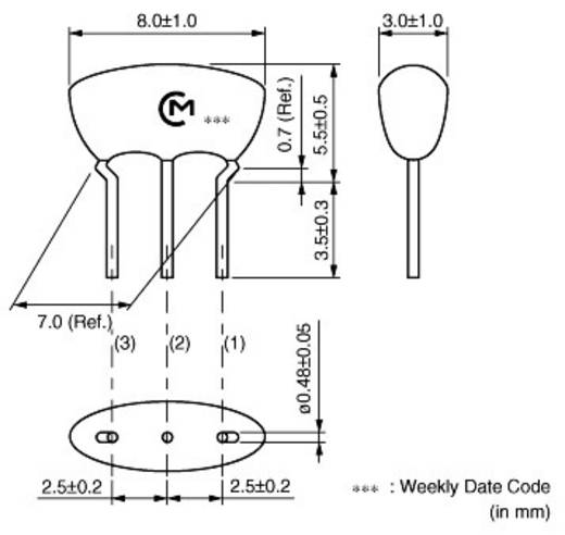 Keramik-Resonator Murata CSTLS10M0G53-B0 CERALOCK® 15 pF Abmessungen (L x B x H) 3 x 8 x 5.5 mm Radial