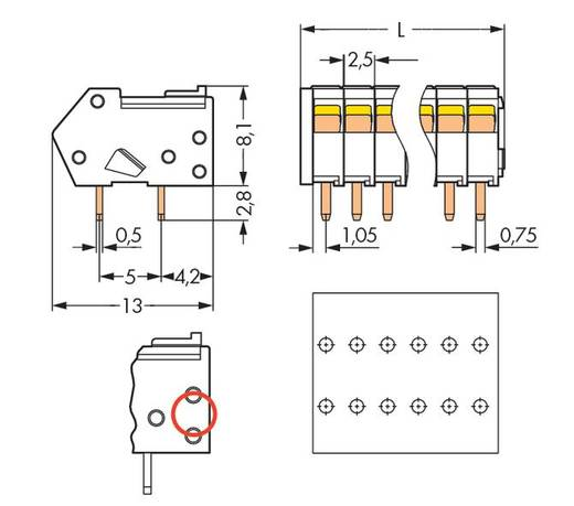 Federkraftklemmblock 0.50 mm² Polzahl 5 218-105/000-604 WAGO Schwarz 500 St.