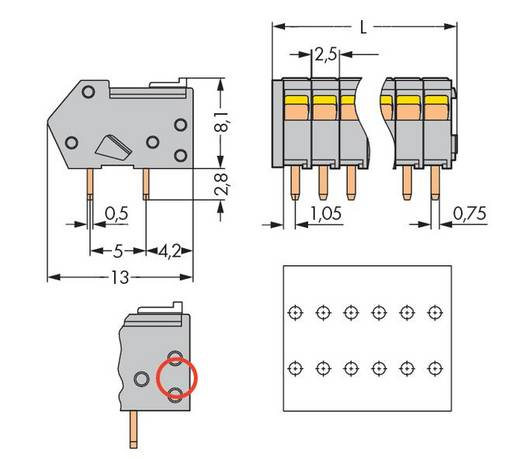 Federkraftklemmblock 0.50 mm² Polzahl 5 218-105/000-012 WAGO Orange 500 St.