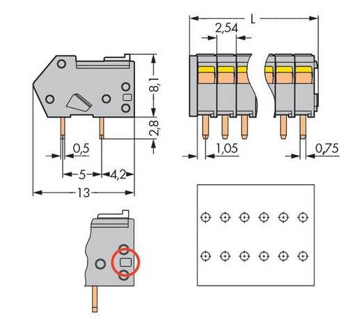 Federkraftklemmblock 0.50 mm² Polzahl 3 218-503/000-012 WAGO Orange 1000 St.