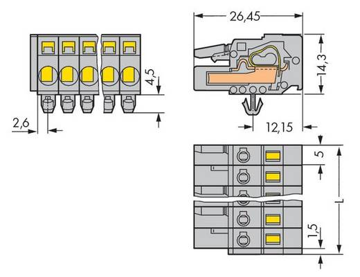 WAGO Buchsengehäuse-Kabel 231 Polzahl Gesamt 19 Rastermaß: 5 mm 231-119/008-000 10 St.