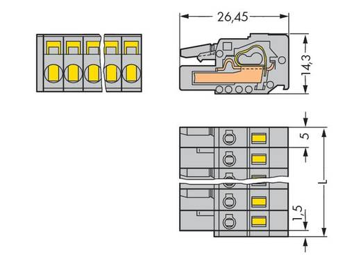 Buchsengehäuse-Kabel 231 Polzahl Gesamt 22 WAGO 231-122/026-000 Rastermaß: 5 mm 10 St.
