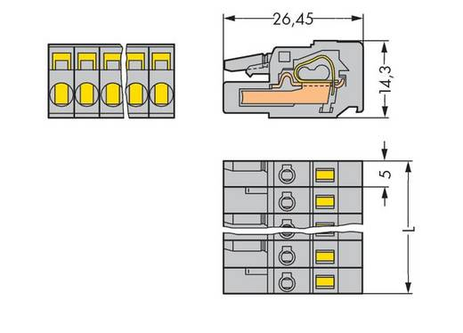 Buchsengehäuse-Kabel 231 Polzahl Gesamt 6 WAGO 231-106/102-000 Rastermaß: 5 mm 50 St.