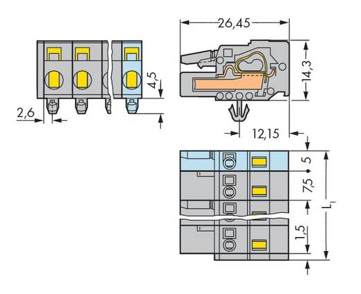 Buchsengehäuse-Kabel 231 Polzahl Gesamt 2 WAGO 231-202/008-000 Rastermaß: 7.50 mm 100 St.