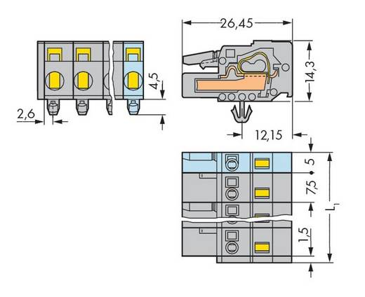 WAGO 231-216/008-000 Buchsengehäuse-Kabel 231 Polzahl Gesamt 16 Rastermaß: 7.50 mm 10 St.