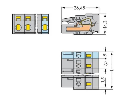 Buchsengehäuse-Kabel 231 Polzahl Gesamt 3 WAGO 231-203/026-000 Rastermaß: 7.50 mm 100 St.