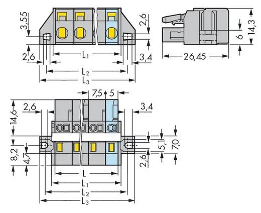 Buchsengehäuse-Kabel 231 Polzahl Gesamt 6 WAGO 231-206/027-000 Rastermaß: 7.50 mm 25 St.