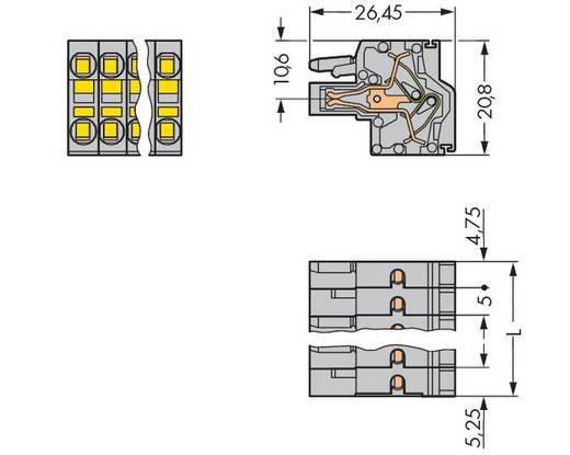 WAGO Buchsengehäuse-Kabel 231 Polzahl Gesamt 8 Rastermaß: 5 mm 231-2108/026-000 50 St.
