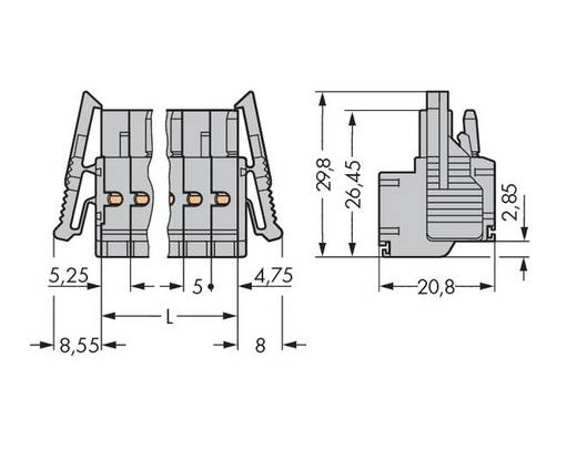 WAGO Buchsengehäuse-Kabel 231 Polzahl Gesamt 3 Rastermaß: 5 mm 231-2103/037-000 50 St.