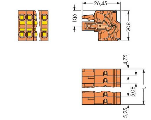 WAGO 231-2316/026-000 Buchsengehäuse-Kabel 231 Polzahl Gesamt 16 Rastermaß: 5.08 mm 25 St.