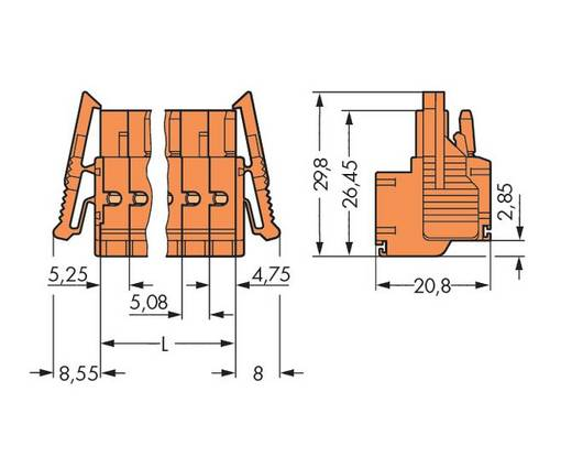 Buchsengehäuse-Kabel 231 Polzahl Gesamt 6 WAGO 231-2306/037-000 Rastermaß: 5.08 mm 50 St.