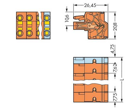 Buchsengehäuse-Kabel 231 Polzahl Gesamt 6 WAGO 231-2706/026-000 Rastermaß: 7.62 mm 50 St.