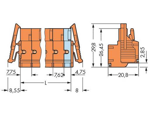 Buchsengehäuse-Kabel 231 Polzahl Gesamt 8 WAGO 231-2708/037-000 Rastermaß: 7.62 mm 25 St.
