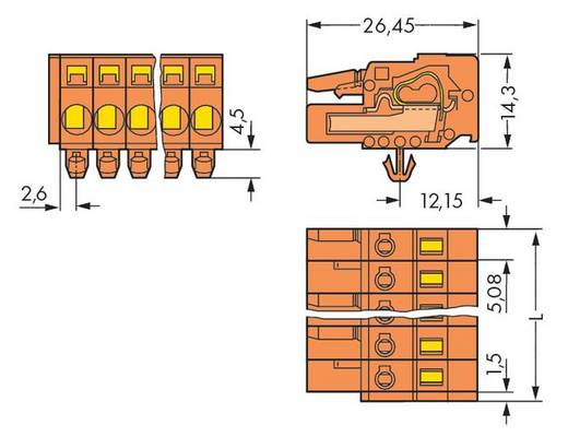 WAGO 231-304/008-000 Buchsengehäuse-Kabel 231 Polzahl Gesamt 4 Rastermaß: 5.08 mm 100 St.