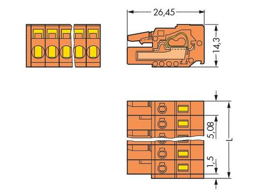 Buchsengehäuse-Kabel 231 Polzahl Gesamt 22 WAGO 231-322/026-000 Rastermaß: 5.08 mm 10 St.