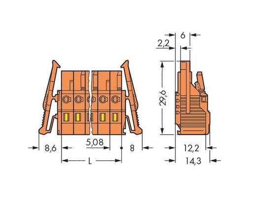 Buchsengehäuse-Kabel 231 Polzahl Gesamt 20 WAGO 231-320/037-047/035-000 Rastermaß: 5.08 mm 10 St.