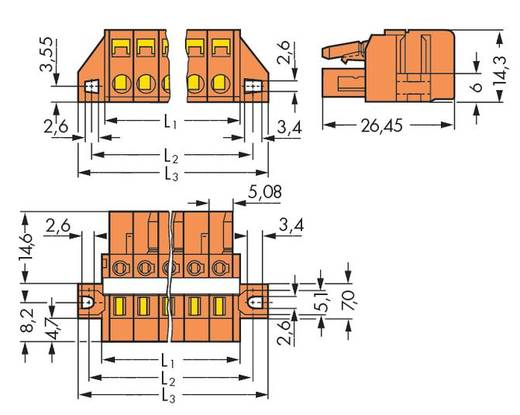 WAGO Buchsengehäuse-Kabel 231 Polzahl Gesamt 6 Rastermaß: 5.08 mm 231-306/027-000 50 St.