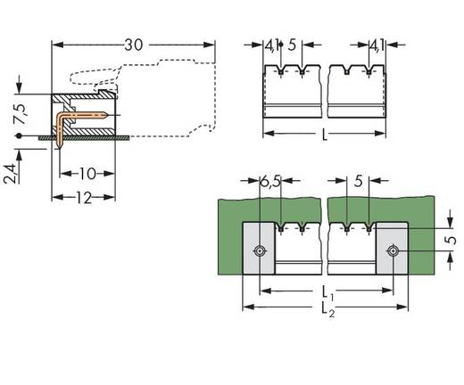 Stiftleiste (Standard) 300 Polzahl Gesamt 12 WAGO 231-472/001-000/105-604 Rastermaß: 5 mm 100 St.