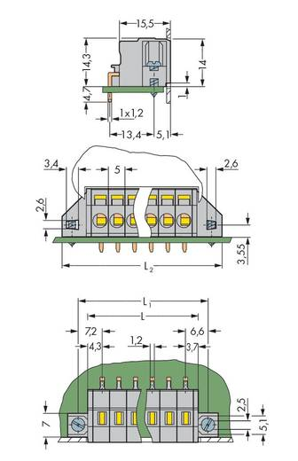 Federkraftklemmblock Polzahl 11 231-611/023-000 WAGO Grau 25 St.