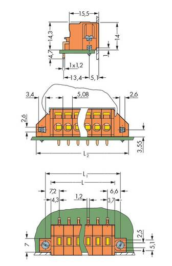 Federkraftklemmblock Polzahl 5 231-635/023-000 WAGO Orange 50 St.