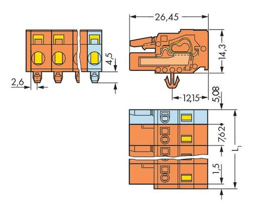 WAGO Buchsengehäuse-Kabel 231 Polzahl Gesamt 6 Rastermaß: 7.62 mm 231-706/008-000 50 St.