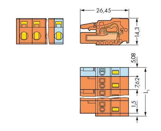 Buchsengehäuse-Kabel 231 Polzahl Gesamt 2 WAGO 231-702/026-047 Rastermaß: 7.62 mm 100 St.