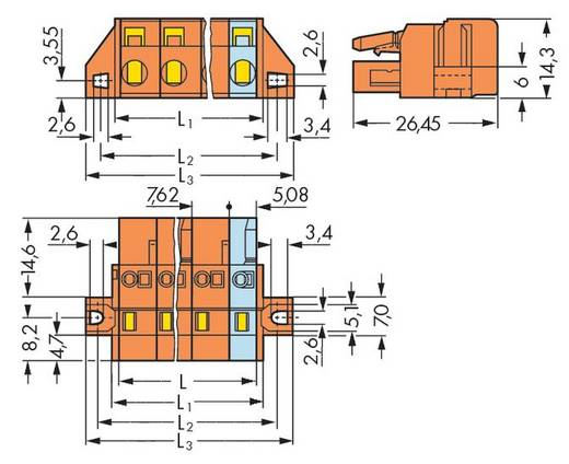 WAGO Buchsengehäuse-Kabel 231 Polzahl Gesamt 2 Rastermaß: 7.62 mm 231-702/031-000 50 St.