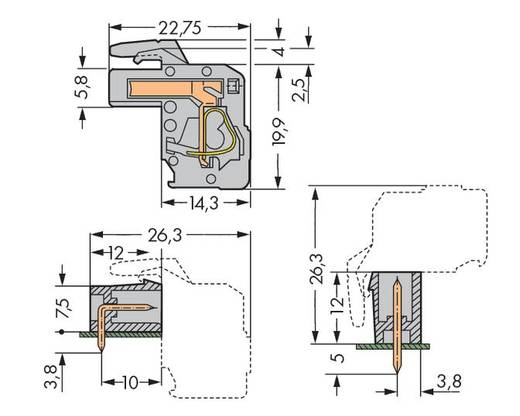 Buchsengehäuse-Kabel 232 Polzahl Gesamt 2 WAGO 232-102/026-000 Rastermaß: 5 mm 100 St.
