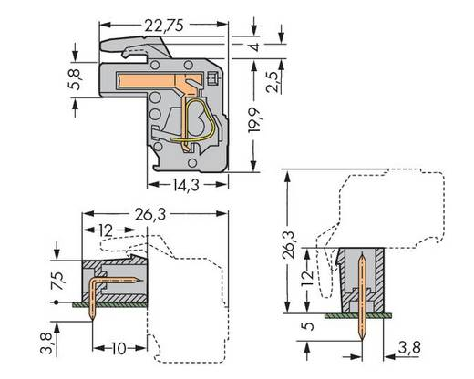WAGO 232-102/026-000 Buchsengehäuse-Kabel 232 Polzahl Gesamt 2 Rastermaß: 5 mm 100 St.