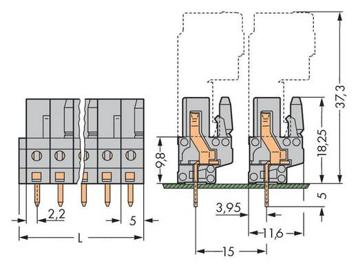 Buchsengehäuse-Platine 232 Polzahl Gesamt 13 WAGO 232-143 Rastermaß: 5 mm 25 St.