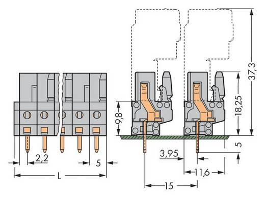 Buchsengehäuse-Platine 232 Polzahl Gesamt 5 WAGO 232-135 Rastermaß: 5 mm 100 St.