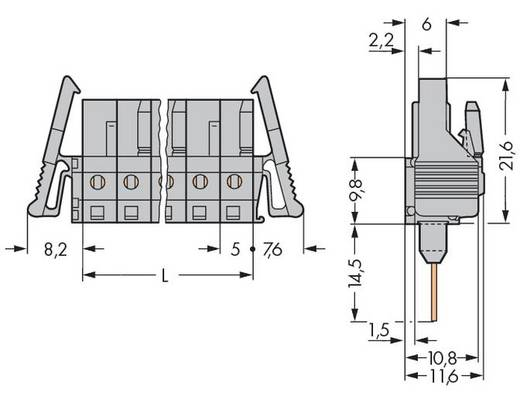 WAGO Buchsengehäuse-Platine 232 Polzahl Gesamt 10 Rastermaß: 5 mm 232-140/005-000/039-000 25 St.