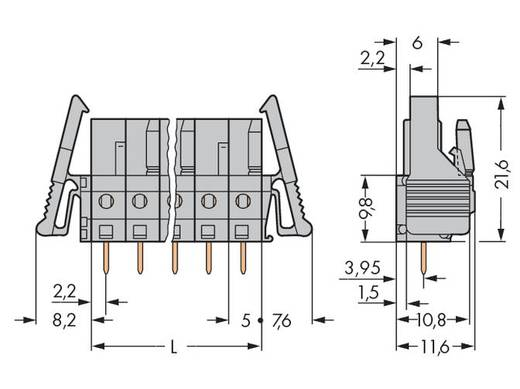 WAGO 232-146/039-000 Buchsengehäuse-Platine 232 Polzahl Gesamt 16 Rastermaß: 5 mm 10 St.