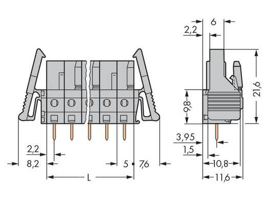 WAGO Buchsengehäuse-Platine 232 Polzahl Gesamt 16 Rastermaß: 5 mm 232-146/039-000 10 St.