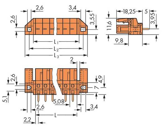 Buchsengehäuse-Platine 232 Polzahl Gesamt 6 WAGO 232-166/047-000 Rastermaß: 5.08 mm 50 St.
