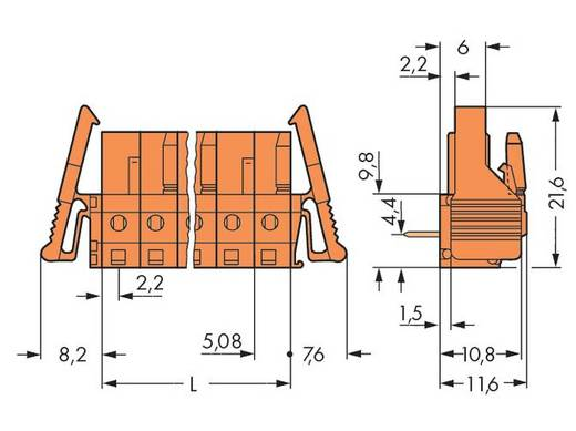 Buchsengehäuse-Platine 232 Polzahl Gesamt 4 WAGO 232-264/039-000 Rastermaß: 5.08 mm 50 St.