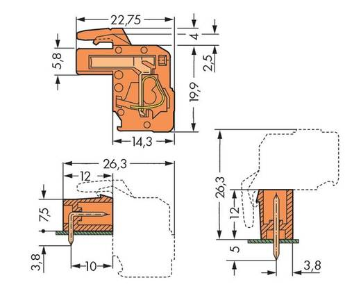 Buchsengehäuse-Kabel 232 Polzahl Gesamt 14 WAGO 232-314/026-000 Rastermaß: 5.08 mm 25 St.