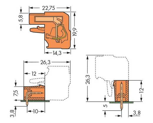 Buchsengehäuse-Kabel 232 Polzahl Gesamt 9 WAGO 232-409/026-000 Rastermaß: 5.08 mm 50 St.