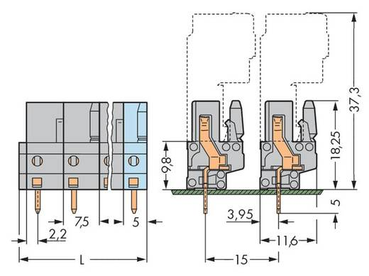 WAGO 232-741 Buchsengehäuse-Platine 232 Polzahl Gesamt 11 Rastermaß: 7.50 mm 25 St.