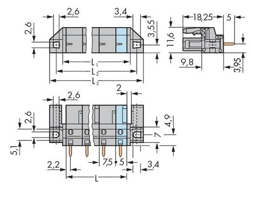 WAGO 232-734/047-000 Buchsengehäuse-Platine 232 Polzahl Gesamt 4 Rastermaß: 7.50 mm 50 St.