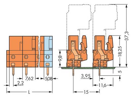 WAGO Buchsengehäuse-Platine 232 Polzahl Gesamt 10 Rastermaß: 7.62 mm 232-770 25 St.