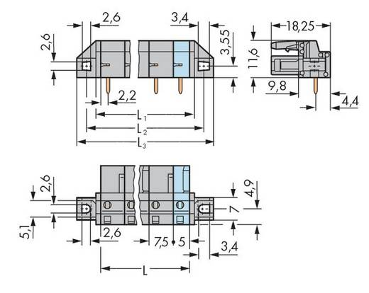 Buchsengehäuse-Platine 232 Polzahl Gesamt 2 WAGO 232-832/031-000 Rastermaß: 7.50 mm 50 St.