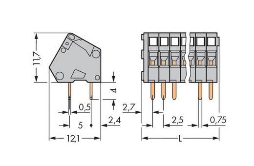Federkraftklemmblock 0.50 mm² Polzahl 3 233-103 WAGO Grau 500 St.