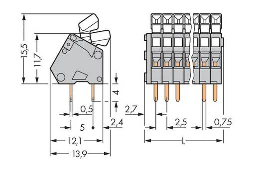 Federkraftklemmblock 0.50 mm² Polzahl 36 WAGO Grau 40 St.