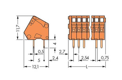 Federkraftklemmblock 0.50 mm² Polzahl 2 WAGO Orange 600 St.