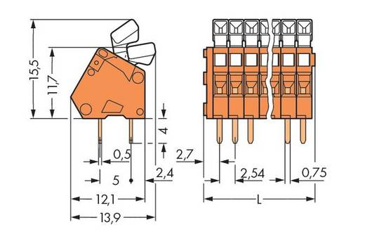 Federkraftklemmblock 0.50 mm² Polzahl 48 WAGO Orange 40 St.