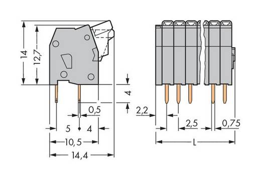 Federkraftklemmblock 0.50 mm² Polzahl 5 WAGO Grau 340 St.
